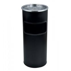 Kültéri  szemetes,  hamutartóval kombinált,  25x58 cm, fekete