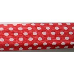 Krepp papír 50x200 cm, piros alapon fehér pöttyös