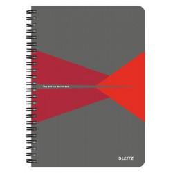 """Spirálfüzet, A5, kockás, 90 lap, PP borító, LEITZ """"Office"""", szürke-piros"""
