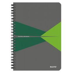 """Spirálfüzet, A5, vonalas, 90 lap, PP borító, LEITZ """"Office"""", szürke-zöld"""