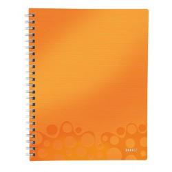 """Spirálfüzet, rendszerező, A4, kockás, 80 lap, LEITZ """"Wow"""", narancssárga"""