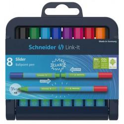 """Golyóstoll készlet, 0,7 mm, SCHNEIDER """"Link-it"""", összeilleszthető, 8 különböző szín"""