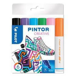 """Dekormarker készlet, 1,4 mm, PILOT """"Pintor M"""" 6 különböző divatszín"""