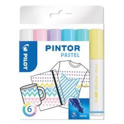"""Dekormarker készlet, 1,4 mm, PILOT """"Pintor M"""" 6 különböző pasztell szín"""