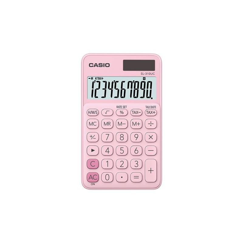 """Számológép, asztali, 10 számjegy, CASIO """"SL 310K"""", világos rózsaszín"""