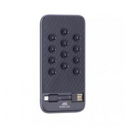 "Hordozható akkumulátor, microUSB, USB-C adapter, telefonra tapasztható, 8000 mAh, RIVACASE ""VA2208"", fekete"
