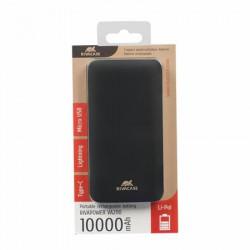 "Hordozható akkumulátor, lightning, microUSB, USB-C, 10000 mAh, RIVACASE ""VA2110"", fekete"