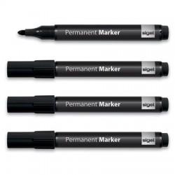 Alkoholos marker, 1-3 mm, kúpos, 4 db/csomag, SIGEL, fekete