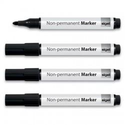 Alkoholmentes marker, 1-3 mm, kúpos, 4 db/csomag, SIGEL, fekete