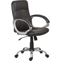 """Főnöki szék, műbőrborítás, ezüst színű lábkereszt, """"Pittsburg"""", fekete"""