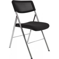 """Összecsukható szék, fém és szövet, ALBA """"CPDIVA"""", ezüst - fekete"""
