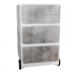 Görgős konténer, 4 fiókos, PAPERFLOW betonmintás