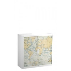 Szekrény, rolós ajtós, 2 polcos,PAPERFLOW, térkép mintás
