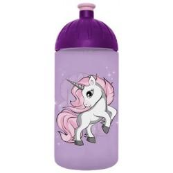 """Kulacs, higiénikus műanyagból, 0,5L, FREEWATER, """"Unikornis 2"""", lila"""