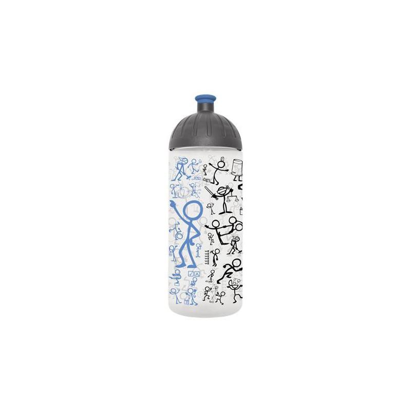 """Kulacs, higiénikus műanyagból, 0,7L, FREEWATER, """"Piktogram"""", áttetsző-kék"""