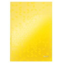"""Beíró, A4, vonalas, 80 lap, keményfedeles, lakkfényű, LEITZ """"Wow"""", sárga"""