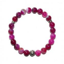 Karkötő, gyöngyből, pink achát, festett, fém dísszel, 8 mm, ART CRYSTELLA® L