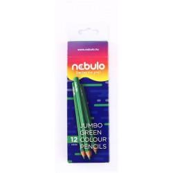 Színes ceruza, háromszögletű, jumbo, NEBULO, zöld