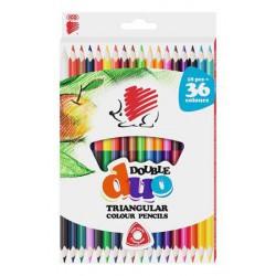 """Színes ceruza készlet, kétvégű, háromszögletű, ICO """"Süni"""", 36 különböző szín"""