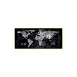 """Mágneses üvegtábla, LED fénnyel, 130x55 cm, SIGEL """"Artverum® """",  világtérkép"""