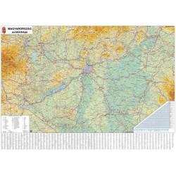 Falitérkép, 70x100 cm, fémkeret, tűzhető, Magyarország autótérképe,  STIEFEL