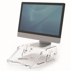 """Monitorállvány, állítható, dokumentumtartóval, FELLOWES """"Clarity™, átlátszó"""