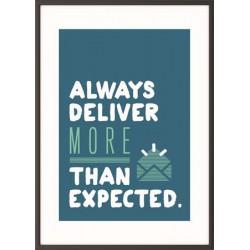 """Falikép, motivációs, 50x70 cm, fekete keret, PAPERFLOW """"Always deliver more than expected"""""""