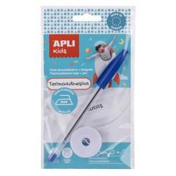 Textilszalag, vasalható, 200x10 mm, tollal, APLI, fehér