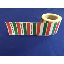 """Etikett, 30×50mm, vellum, """" Magyar zászlós"""" Magyar termék felirattal, 500 etikett/tekercs"""