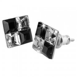 Fülbevaló, négyzet, fekete-fehér SWAROVSKI® kristállyal, 8 mm, ART CRYSTELLA®
