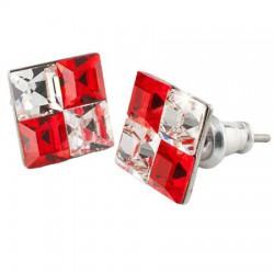 Fülbevaló, négyzet, light siam piros-fehér SWAROVSKI® kristállyal, 8mm, ART CRYSTELLA®
