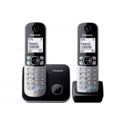 """Telefon, vezeték nélküli, telefonpár, PANASONIC """"KX-TG6812PDB Duo"""", fekete"""