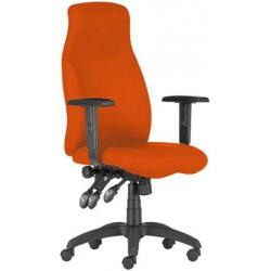 """Menedzserszék, szövetborítás, fekete lábkereszt, magas háttámla,  """"HUFO"""", narancssárga"""