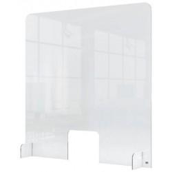 Védőfal, kiadó ablakkal, asztali, akril, 700x850 mm, NOBO, átlátszó