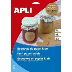 Etikett, tintasugaras nyomtatóhoz, 63,5x42,3 mm, natúr hatású, APLI, 180 etikett/csomag