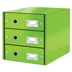 """Irattároló, laminált karton, 3 fiókos, LEITZ """"Click&Store"""", zöld"""